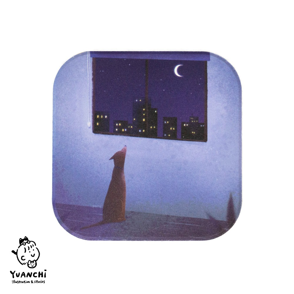 【YUANCHi】鶯歌陶瓷方形杯墊-狗狗月亮款