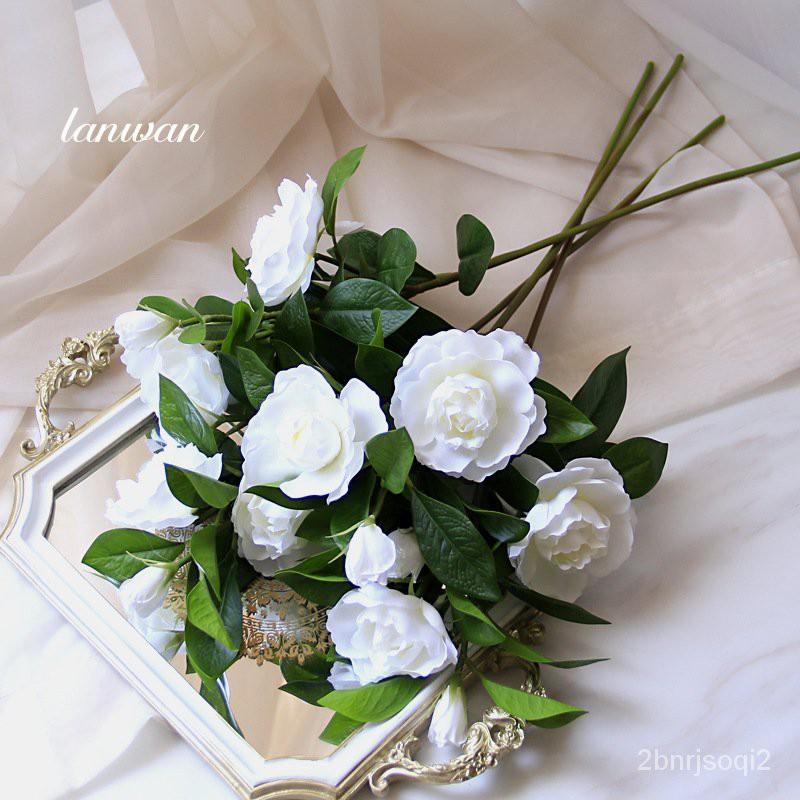 新款【仿真花】藝贊單支仿真花梔子花餐桌客廳臥室家居裝飾花束假花拍攝道具攝影
