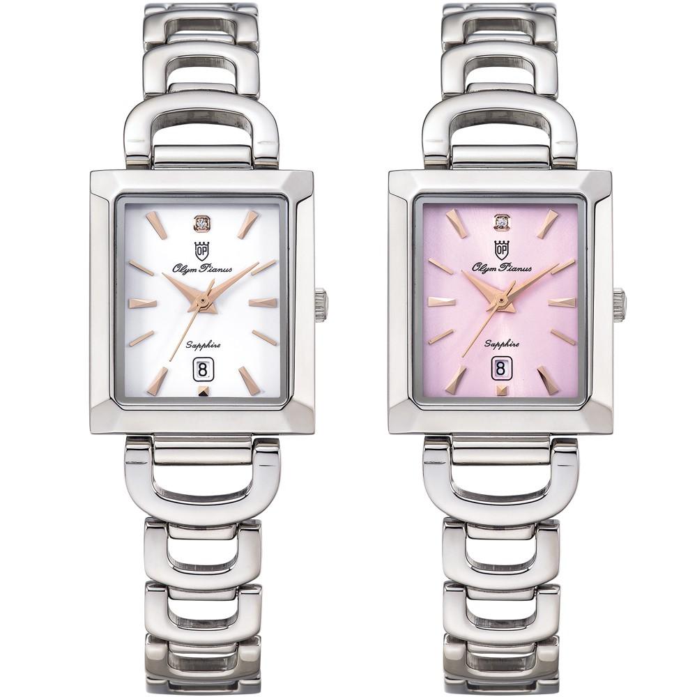 【Olym Pianus 奧柏表 】簡約風情時尚淑女腕錶(白/粉) 2477LS