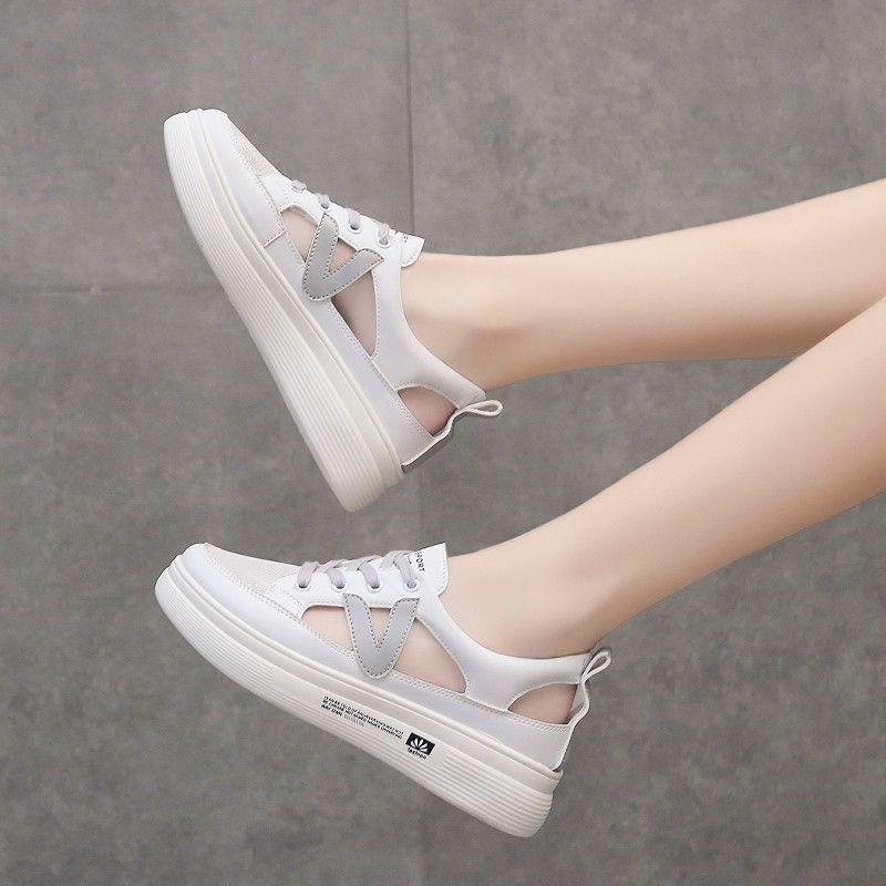 内增高凉鞋2020年新款夏季镂空厚底松糕百搭包头休闲运动小白女鞋