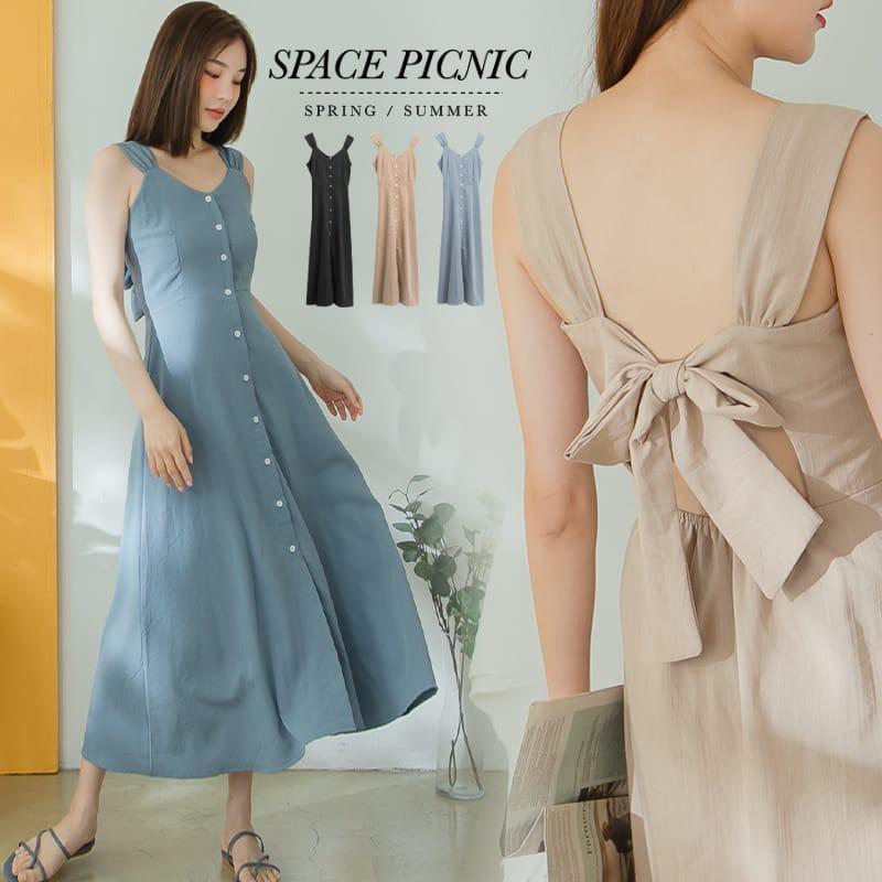 Space Picnic|後綁帶排釦肩帶長洋裝(現貨)【C20053000】