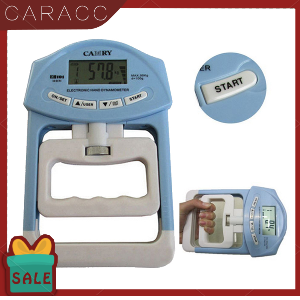 Caracc 198lb / 90kg 電子數字液晶手握強度血壓計測量儀