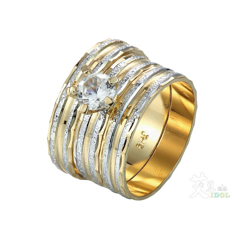 金線銀磨砂 鑽石金戒指 7-11號 鍍金 防退色 艾豆『H3062』