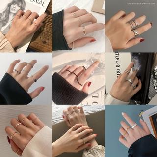 Bene 戒指套裝 15 種風格簡約韓國時尚戒指女女孩幾何形狀珍珠心形時尚珠寶禮物極簡主義銀金戒指 Cincin