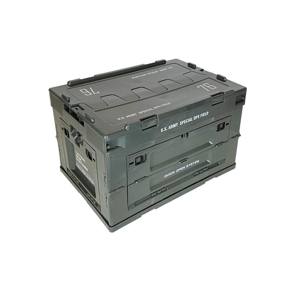 軍風折疊側開收納箱 居家收納 側開收納箱 折疊收納箱 露營收納箱