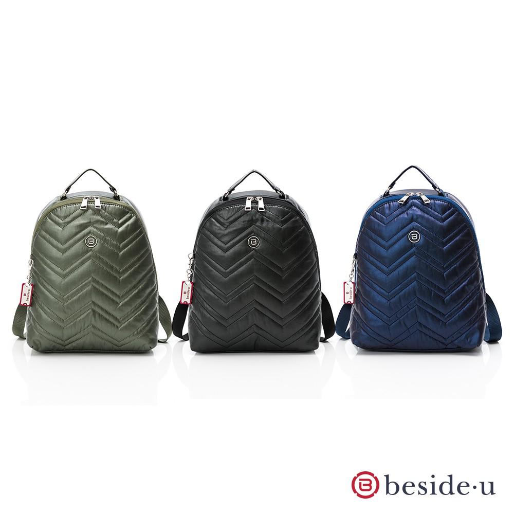 beside u 金屬風波浪圖騰大開口後背包 – 黑色、藍色、綠色
