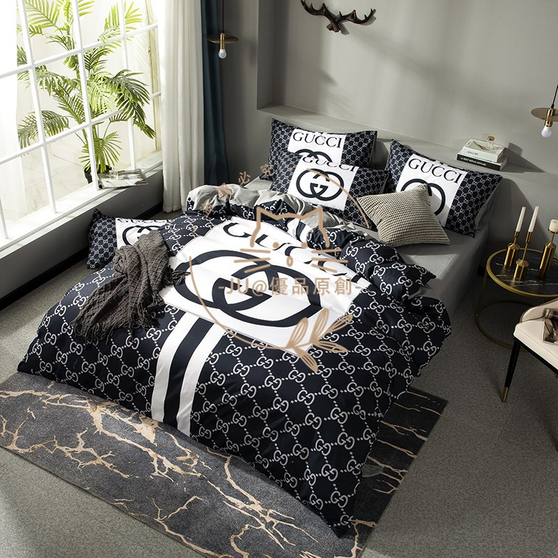 爆款歐美雙人床包 純棉 大牌 Gucci 古馳 GUCCI 100%棉 雙人/加大雙人 床組床包床套 床單床包被套四件套