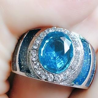 豪華 925 純銀橢圓形戒指 1ct 5a 鋯石藍石 Cz 訂婚結婚戒指 Plata 女士男士珠寶