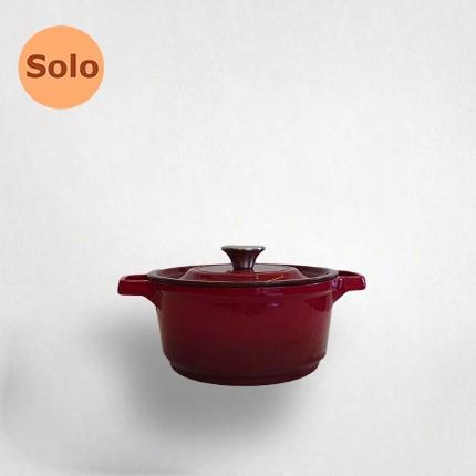 20cm鑄鐵湯鍋-紅色(黑琺瑯)