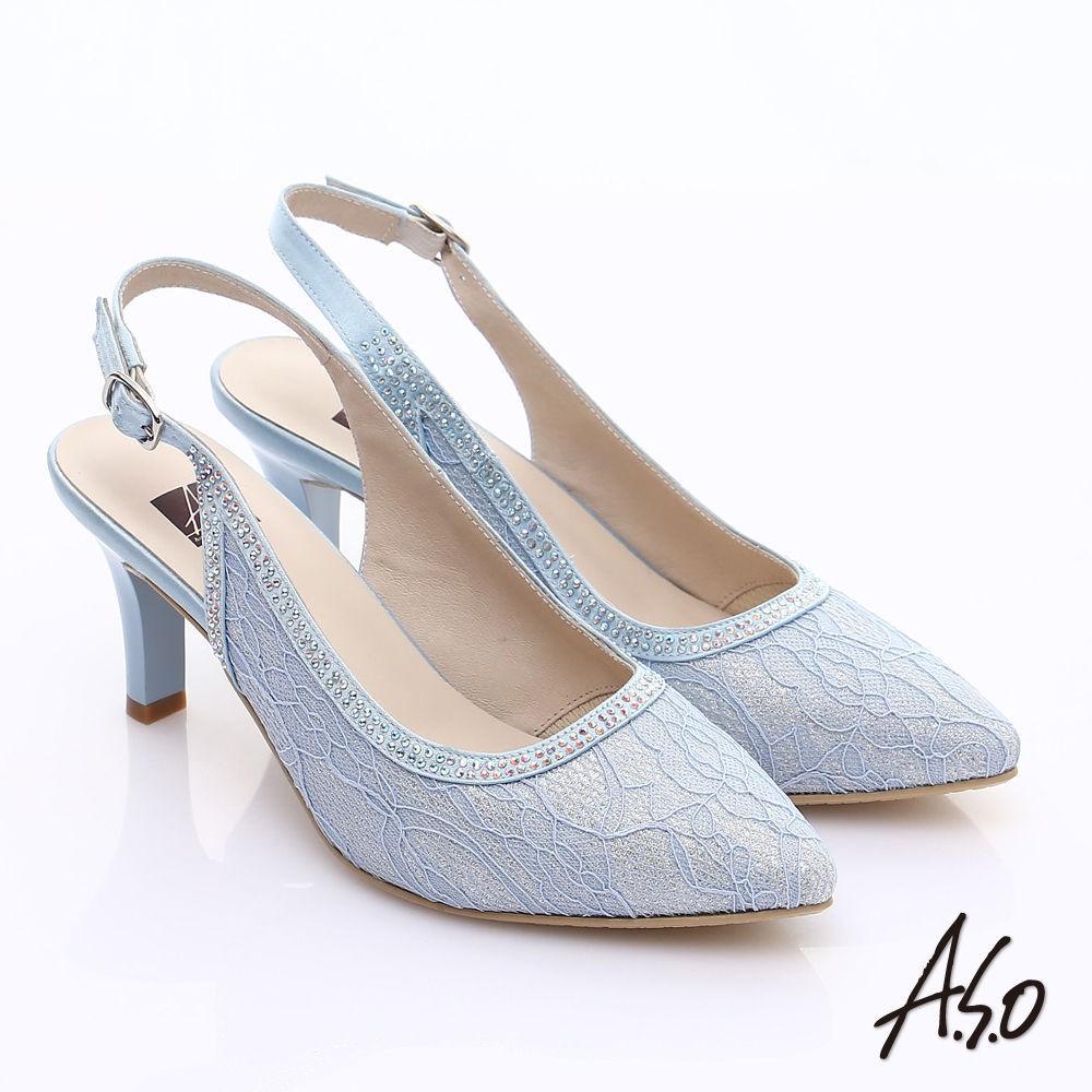 A.S.O 甜蜜樂章 蕾絲緞布水鑽繫帶高跟涼鞋 黑