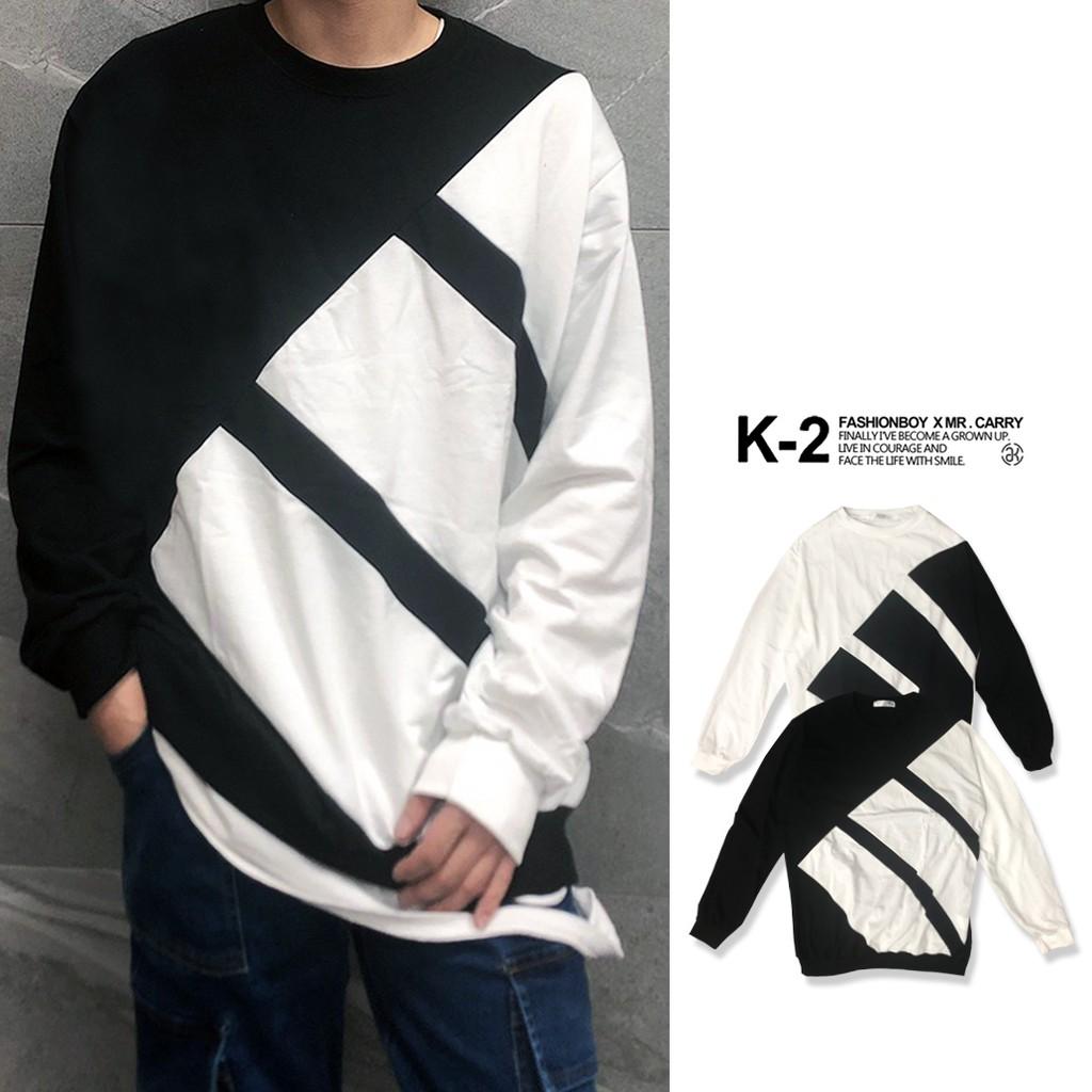 【K-2】黑白撞色 潮流 大學T 雙色拼接 特殊 個性 情侶 上衣 秋冬新款 網紅 網美【C610】