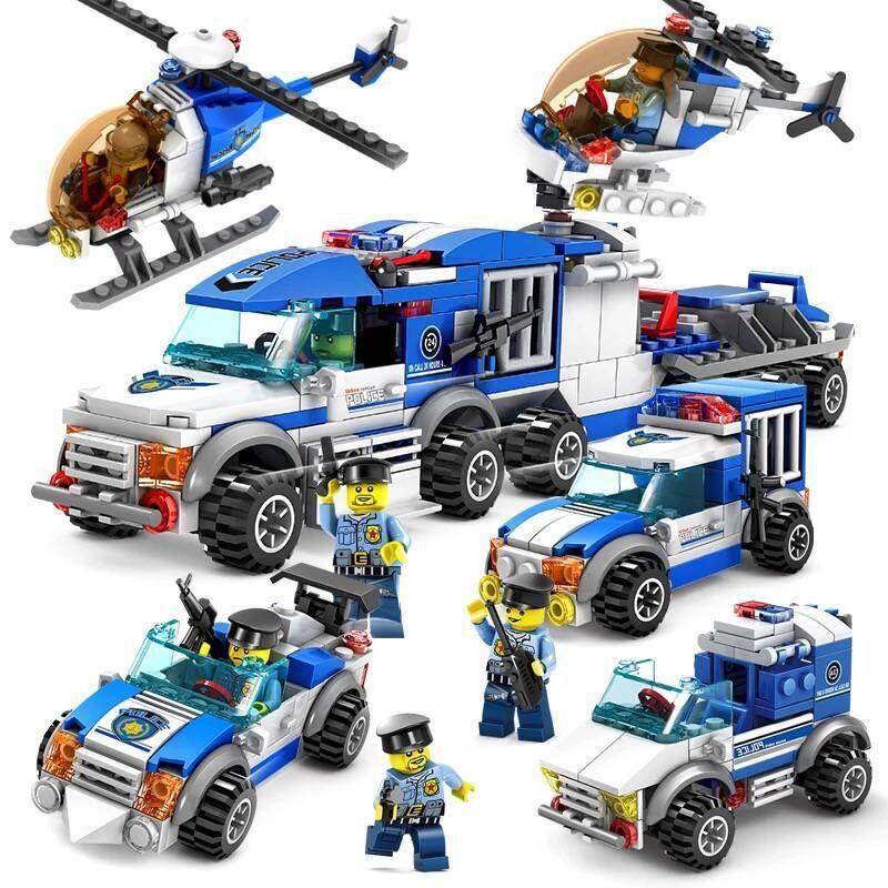 開智積木拼裝9樂高警察局7城市系列汽車玩具益智組裝男孩子警車