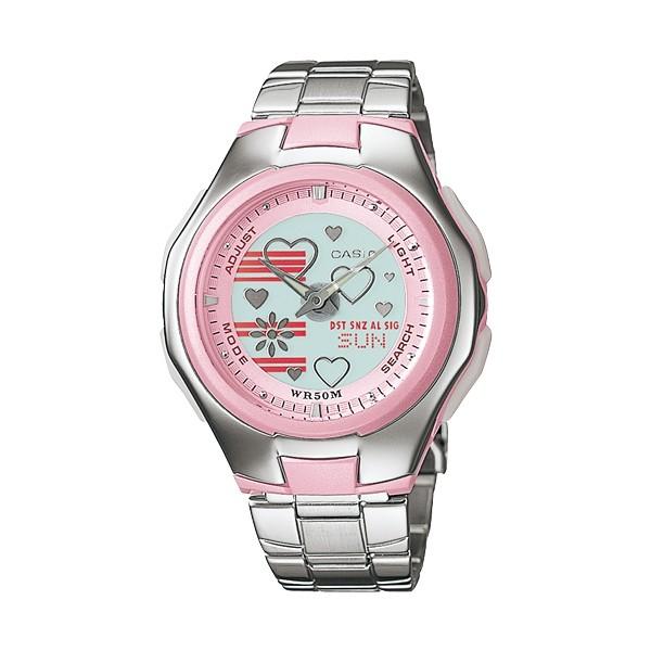 卡西歐CASIO Popton系列 蜜桃甜心雙顯鋼帶錶(LCF-10D-4A) (LAW-25D)-36.5mm