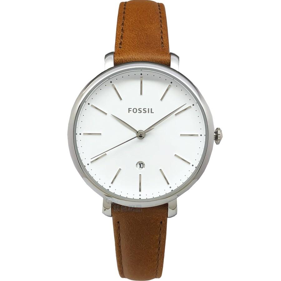 FOSSIL 手錶 ES4368 日期 銀框咖啡色皮帶 女錶【澄緻精品】