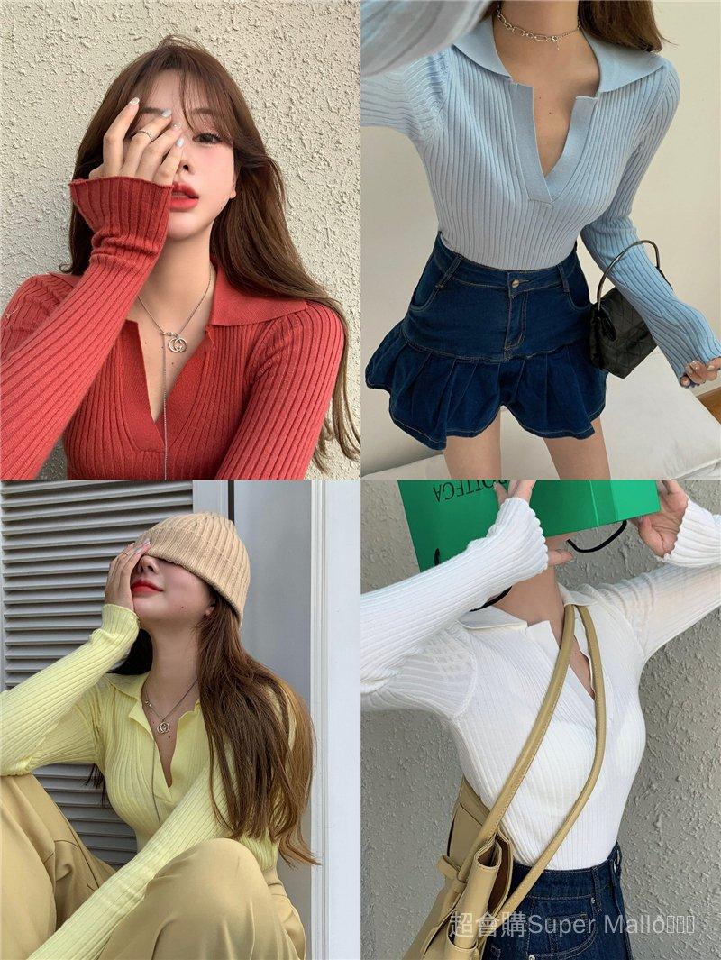 短款性感v領長袖針織衫上衣女2021年春季秋季新款翻領緊身內搭打底衫