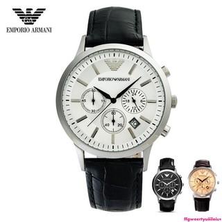 鬘-原廠公司貨Armani阿曼尼AR男錶休閒時尚石英錶皮帶三眼計時日曆防水男士手錶AR2432