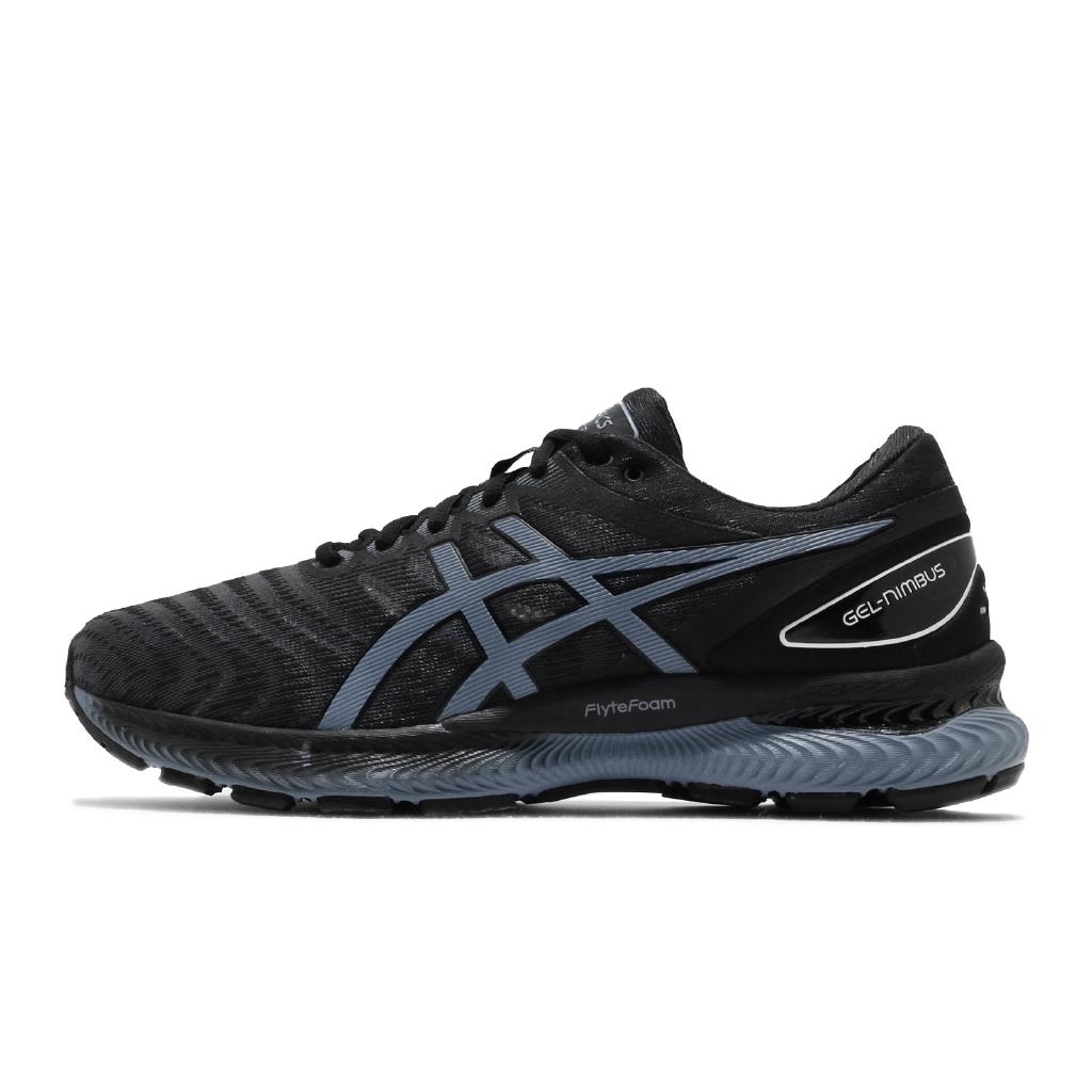Asics 慢跑鞋 Gel-Nimbus 22 男鞋 黑 藍 緩衝 路跑 亞瑟膠 運動【ACS】 1011A680004