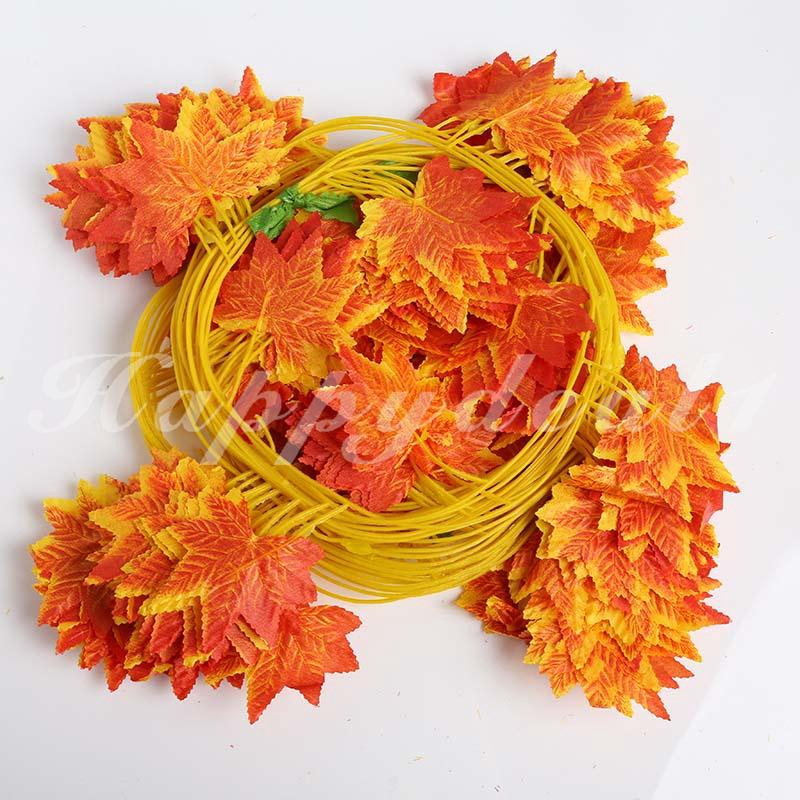 人造楓葉花環絲綢秋季秋季DIY家居派對裝飾工藝