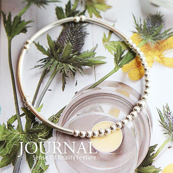 925純銀 極簡銀柱珠彈性手鍊_Journal