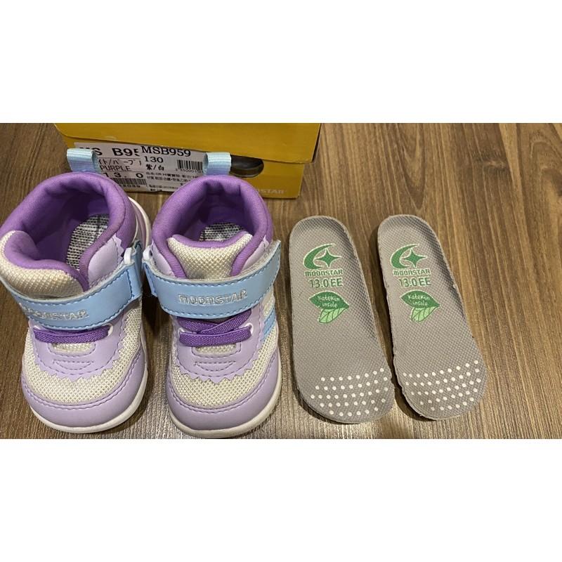二手 moonstar日本月星頂級童鞋13cm  HI系列2E護踝款 NI9紫白(寶寶段)