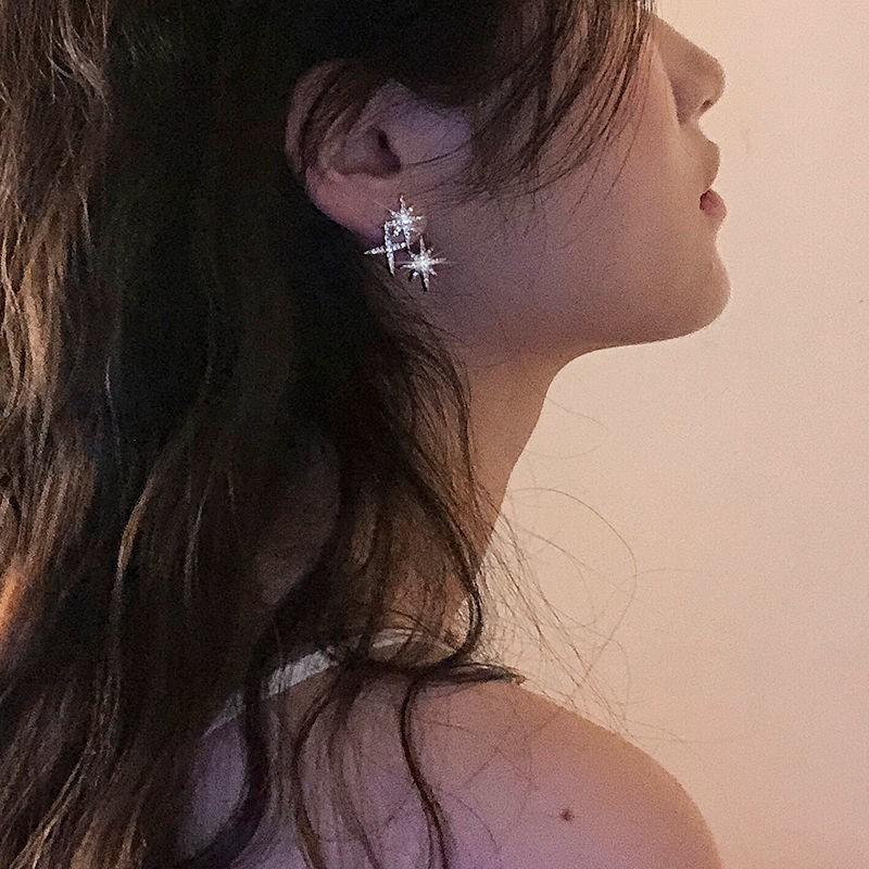 不對稱耳釘女米字星星耳環2020新款潮韓國簡約氣質鑲鉆八芒星耳釘