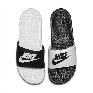 耐吉 耐克忍者拖鞋右龍拖鞋黑白字母雙帶男女沙灘涼鞋 819717