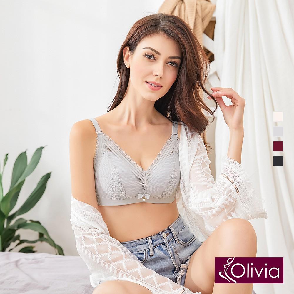 Olivia 無鋼圈網紗拼接緹花蕾絲內衣-灰色 廠商直送 現貨