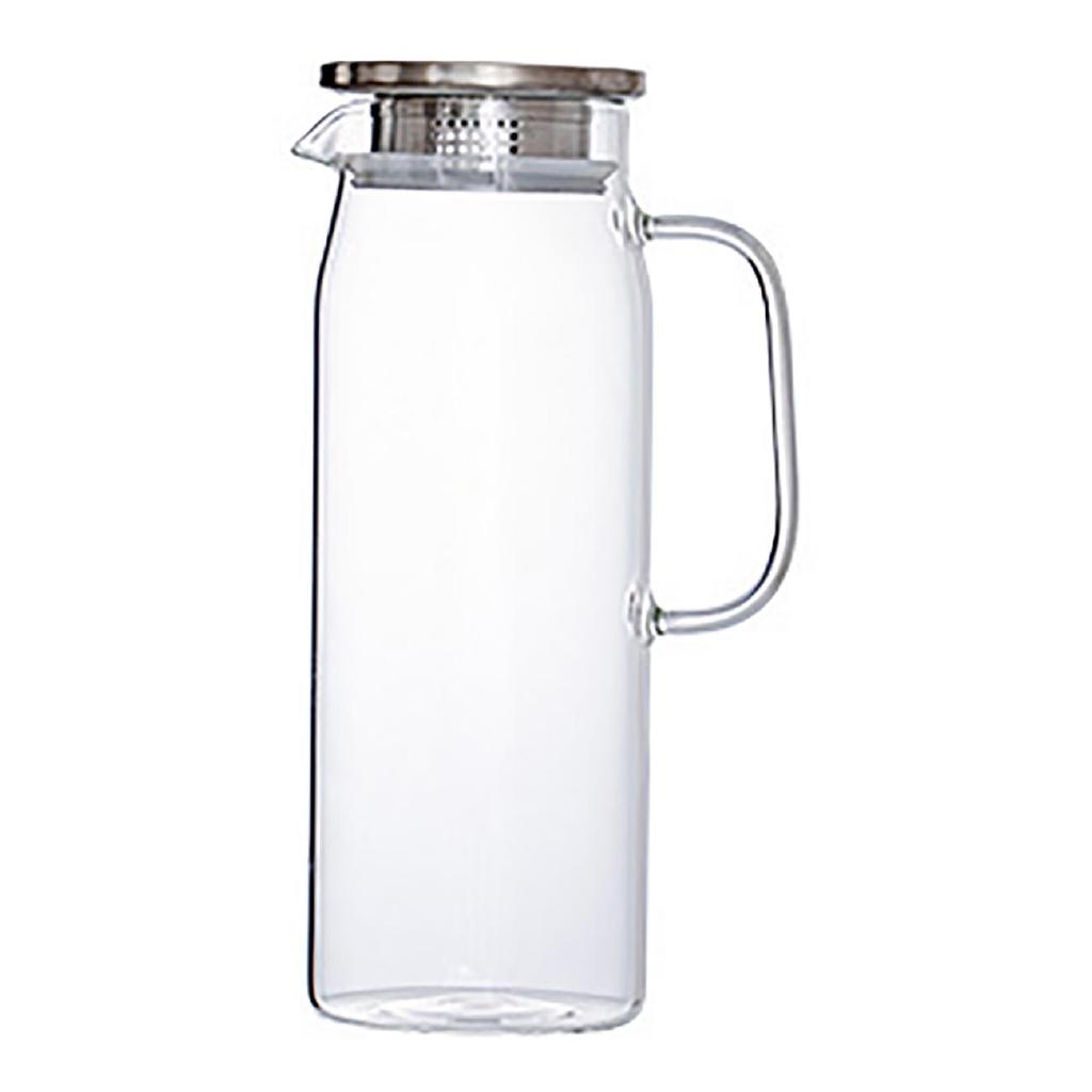 居家家 1500ml 竹蓋玻璃冷水壺大容量涼水壺家用耐熱水壺飲料扎壺裝果汁瓶涼水杯【現貨】
