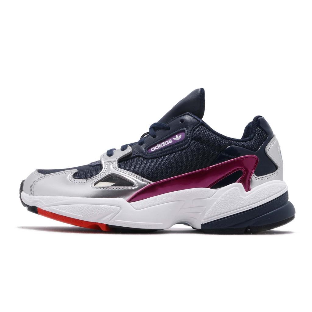 adidas 老爹鞋 Falcon W 藍 銀 皮革鞋面 復古 老爺鞋 爸爸鞋 運動鞋 女鞋 CG6213【ACS】