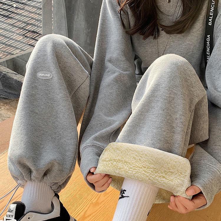 羊羔絨褲子加絨加厚運動褲女冬季寬松顯瘦束腳衛褲闊腿褲外穿棉褲【1月15日發完】