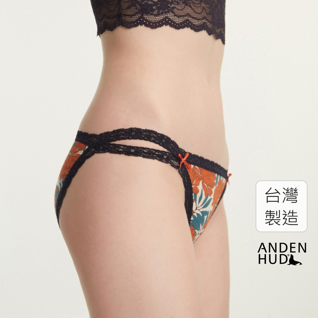 【Anden Hud】花魁.雙蕾絲邊高衩低腰三角內褲(裸膚-紅花) 台灣製