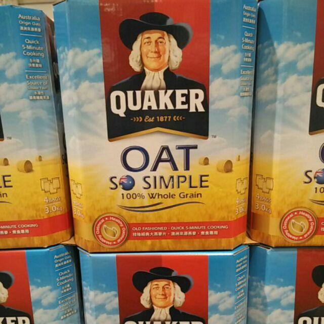有發票 好市多代購 Quaker 桂格 經典大燕麥片 (3kg)