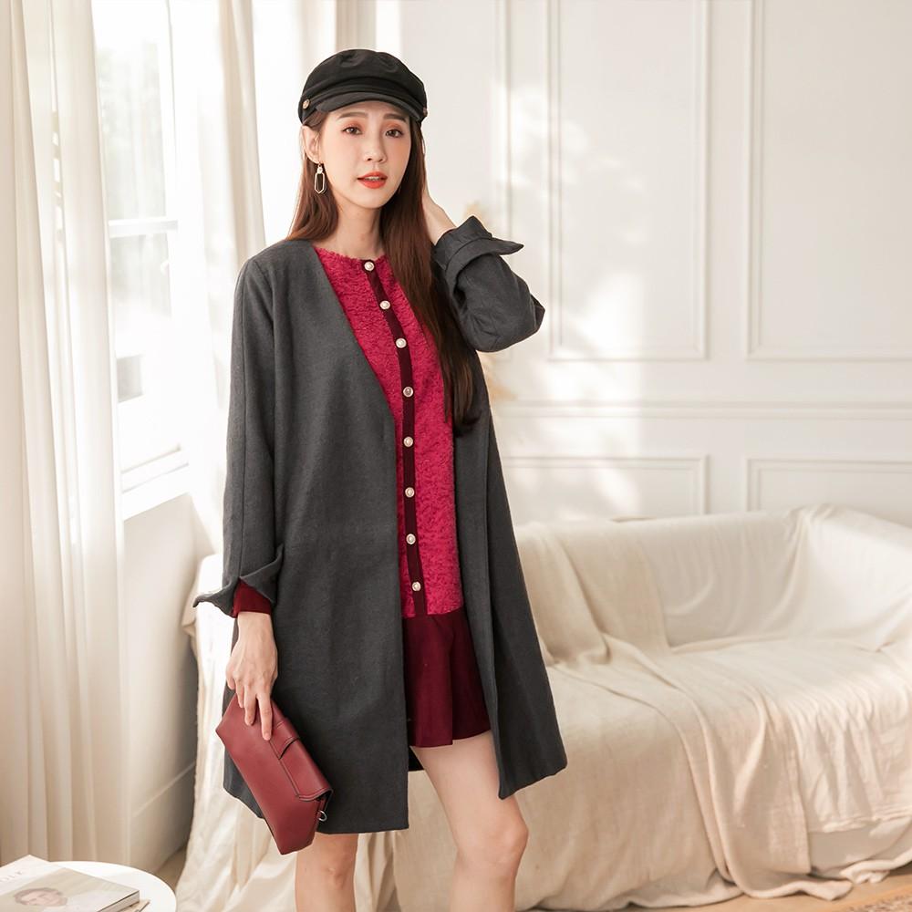 OB嚴選-溫暖毛呢純色袖開衩造型開襟外套-附腰帶--適 M~XL 《EA2061-》