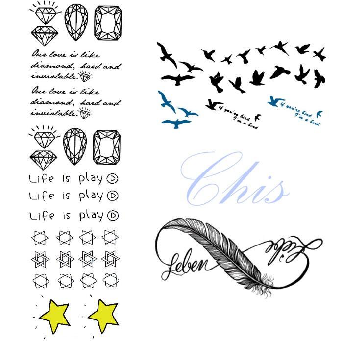 Chis Store FN【彩色個性刺青貼紙】韓國男女性感小清新原宿風星星六芒星 羽毛 英文字母 飛鳥 鑽石防水紋身貼紙