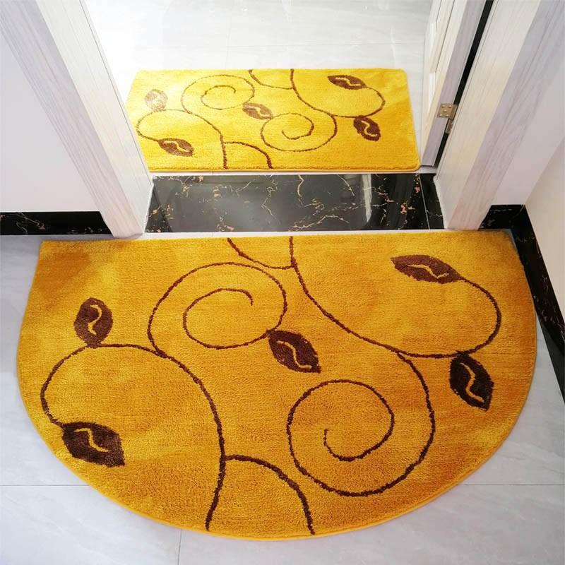 【全館免運】半圓形金黃色門口進門地墊門墊浴室防滑吸水腳墊臥室可機洗長地毯