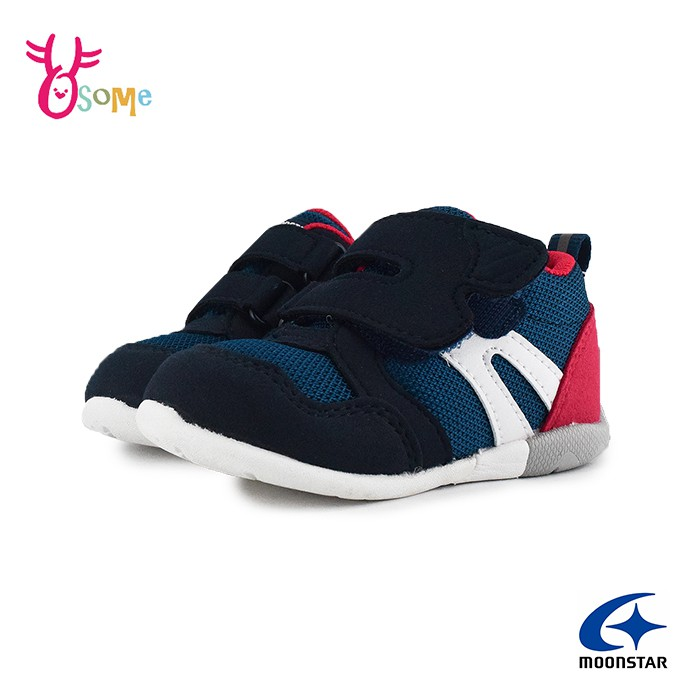 Moonstar月星童鞋 寶寶鞋 男嬰學步鞋 日本機能鞋 矯正鞋 3E寬楦 魔鬼氈 透氣 I9618藍色 OSOME