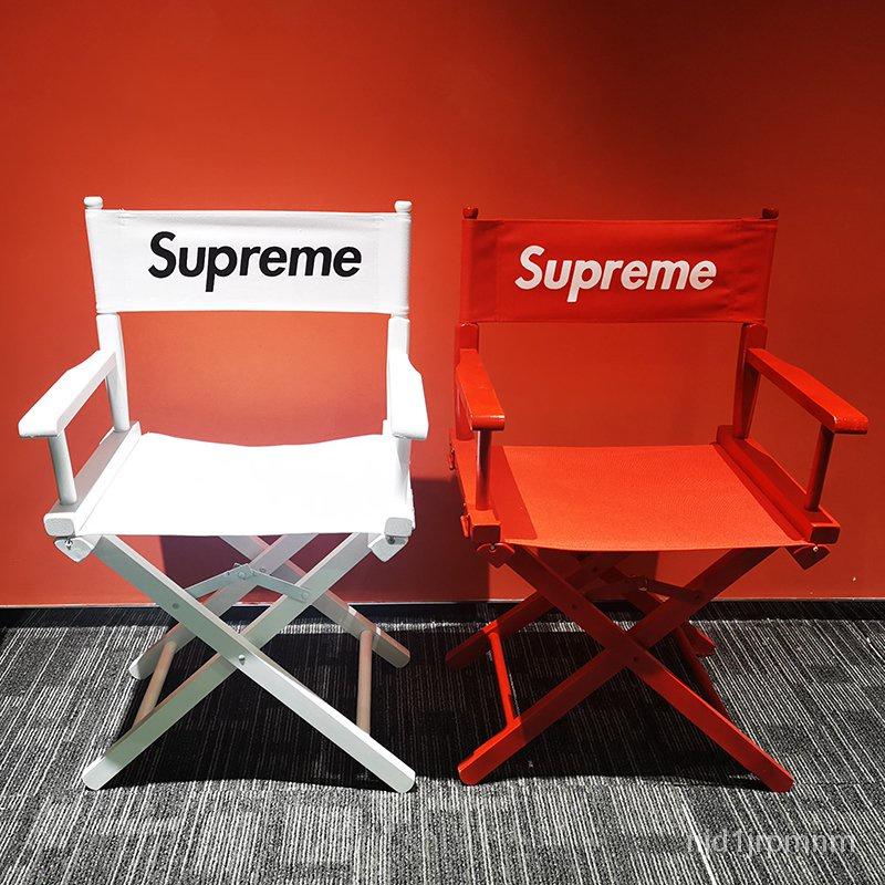 【熱銷戶外折疊椅】Supreme導演椅實木戶外便攜折疊裝飾帆布休閒沙灘椅野餐定製logo【戶外折疊椅】 GDGq