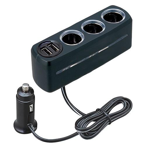 車之嚴選 cars_go 汽車用品【F285】日本 SEIWA 2.4A 雙USB+3孔 點煙器延長線式電源插座擴充器