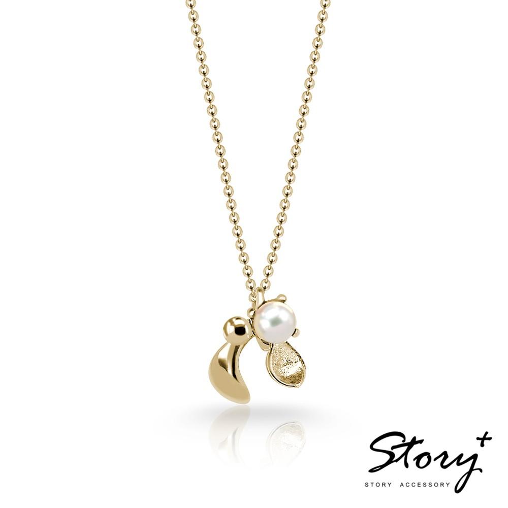 STORY故事銀飾-Mistletoe槲寄生天然珍珠純銀項鍊(黃K金)