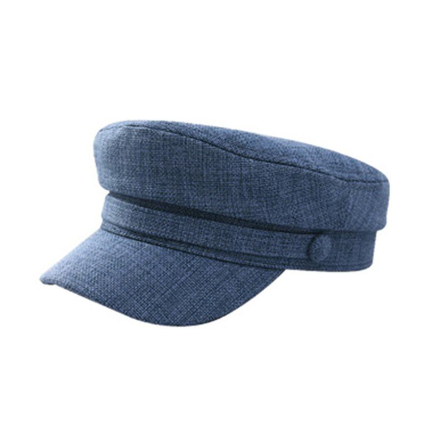 秋冬藍色可調56-58厘米帽子棉麻平簷貝雷帽
