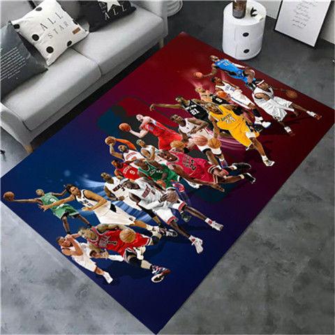 科比NBA元素紀念地毯 客廳臥室地毯NBA籃球個性創意地毯客廳臥室床邊陽臺卡通電腦椅門墊轉椅墊地毯