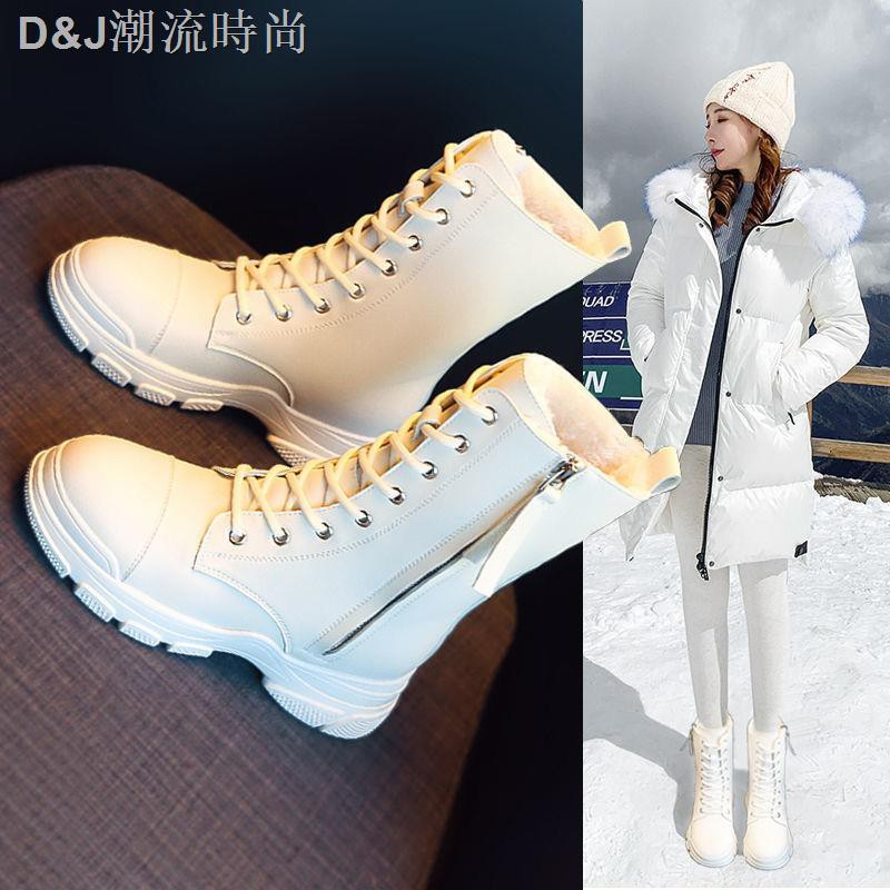 ▲■馬丁靴女鞋2020新款秋冬季英倫風冬季百搭騎士中筒雪地白色短靴子
