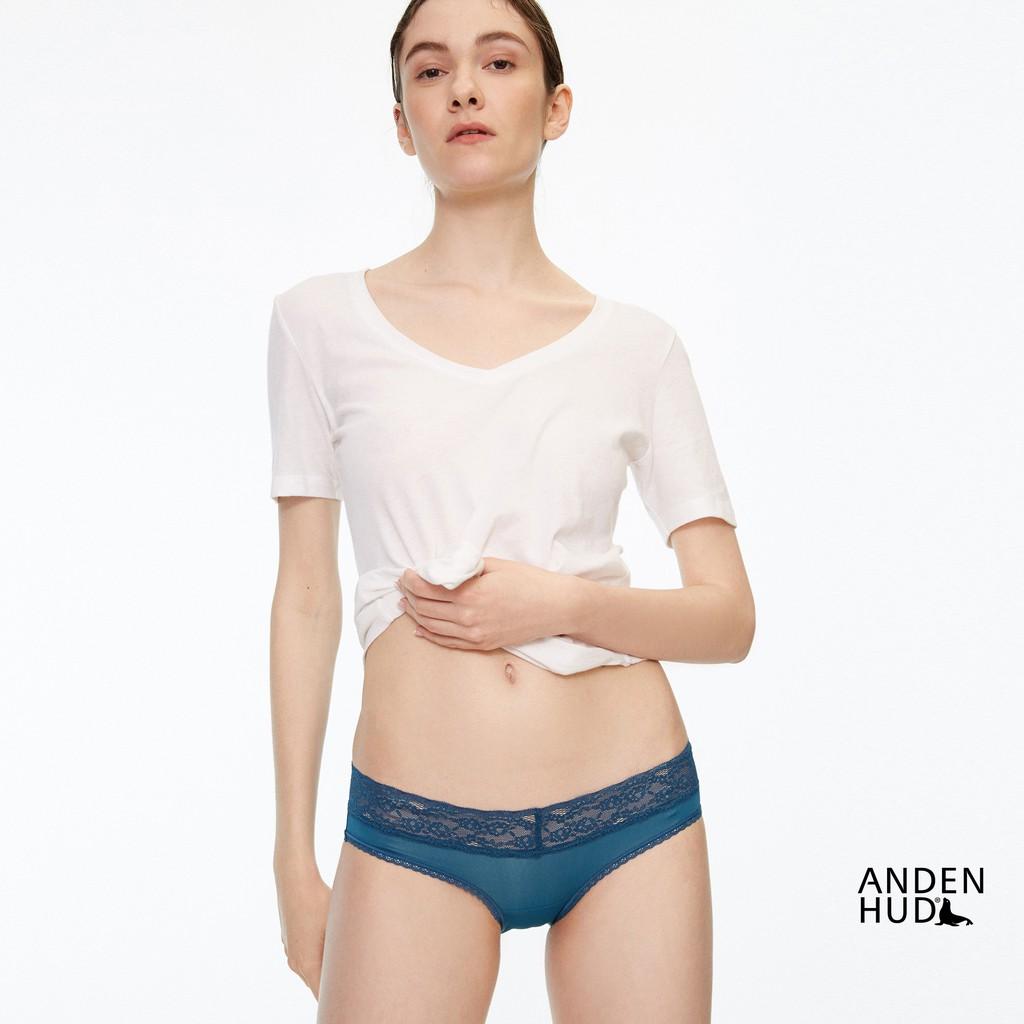 【Anden Hud】涼感系列.V蕾絲低腰三角內褲(天青藍) 台灣製