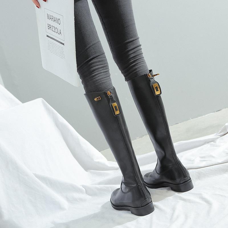 辣妹必備款不過膝長靴女2020秋冬新款網紅高筒騎士靴顯瘦及膝靴后拉鏈平底靴
