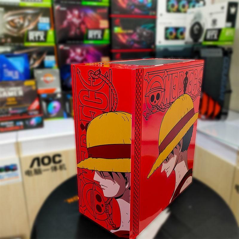 電腦機殼 機箱 玩嘉鎧甲初音粉色卡通電腦機箱臺式DIY玻璃側透游戲水冷ATX大板