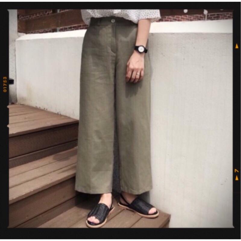 超復古的墨綠色牛仔落地寬褲