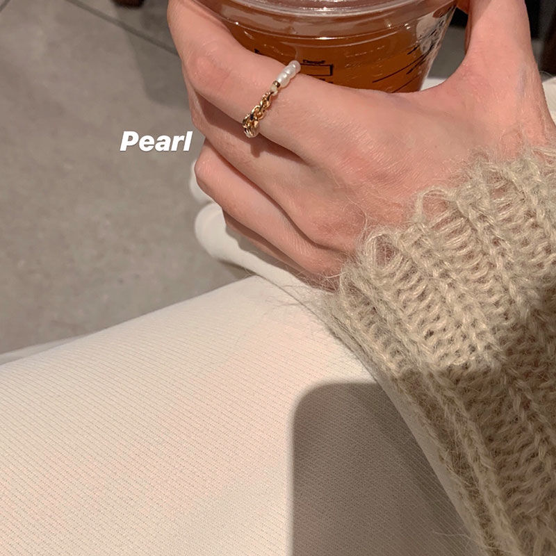 珍珠兩件套食指戒時尚個性素圈戒指女ins潮小眾設計輕奢簡約指環
