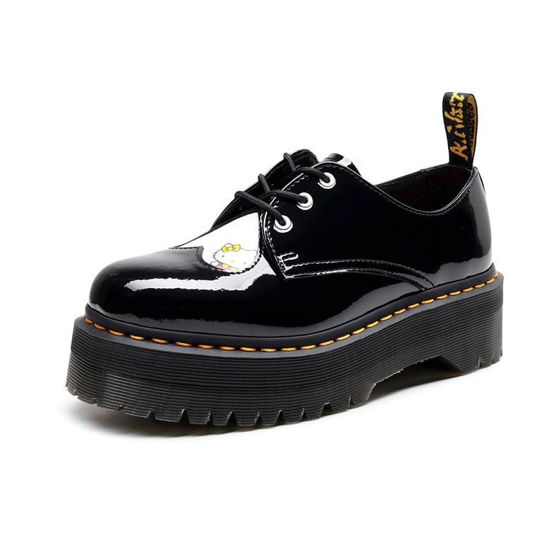 春季新品1461厚底3孔X Hello Kitty馬丁鞋女低幫真皮圓頭學生松糕底短靴女