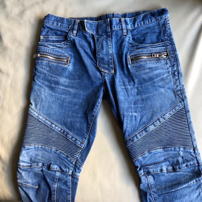 保證正品 Balmain 藍色 經典 騎士 牛仔褲 size 33