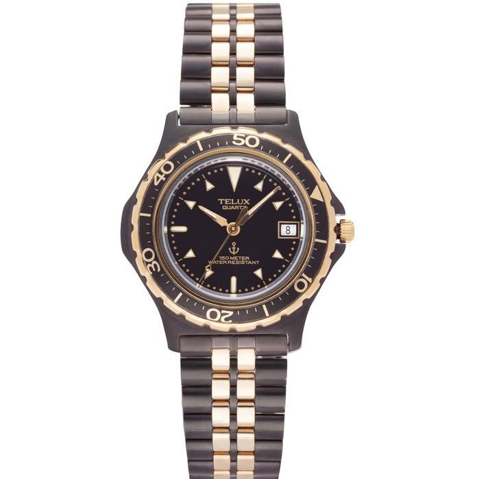 台灣品牌手錶腕錶【TELUX鐵力士】潛航者系列腕錶35MM台灣製造石英錶7565BK  黑金